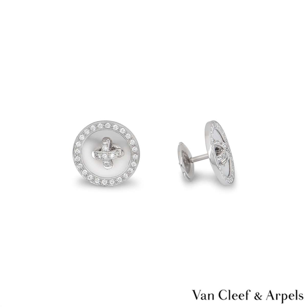 Van Cleef & Arpels White Gold Diamond Button Earrings